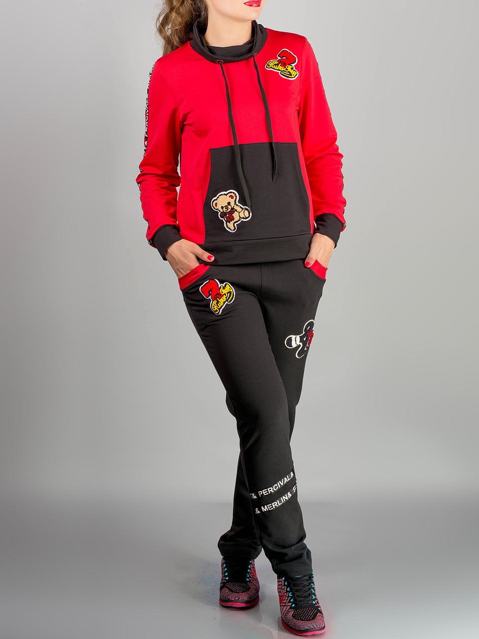 """Красный женский спортивный костюм """"Драйв"""" до 54 размера"""