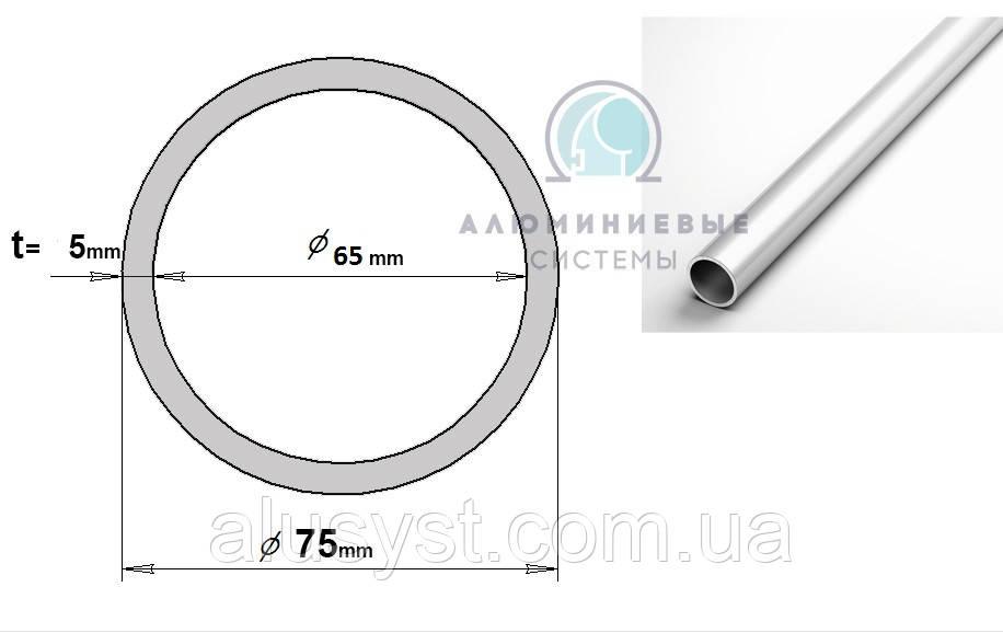 Алюмінієва труба, кругляк 75х5 / б.п.