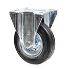 """Неповоротные колеса для тележек с крепежной панелью """"Norma"""", из черной резины"""