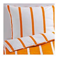 """IKEA """"ТУВБРЭККА""""  Комлект постельного белья,  оранжевый, белый, 160x200/70x80 см"""