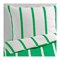 """IKEA """"ТУВБРЭККА""""  Комлект постельного белья,  зеленый, белый, 160x200/70x80 см"""