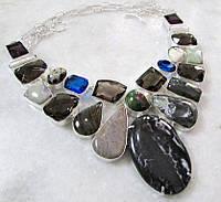 Колье с натуральными камнями - ЗЕБРОВАЯ ЯШМА, ДЫМЧАТЫЙ КВАРЦ, ЯШМА, ЛАБРАДОРИТ, АМАЗОНИТ, КВАРЦ, ЖЕМЧУГ БИВА