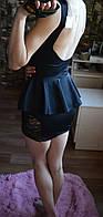 Костюм топ баска+ юбка ажур (голая спина)
