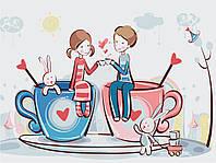Картина раскраска по номерам без коробки Идейка Кофейная любовь (KHO2627) 30 х 40 см