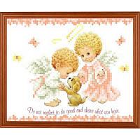 "Рисунок-схема на ткани ""Ангелочки и щеночек"" СГ 5203 Світ Гармонії"