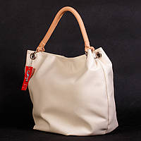 Кремовая большая сумка-мешок с одной ручкой