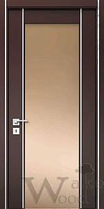 """Межкомнатные двери """"WakeWood"""" Glass plus 04 (широкая полоса напросвет с перемычкой)"""