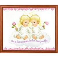 "Рисунок-схема на ткани ""Ангелочки на облачке"" СГ 5202 Світ Гармонії"