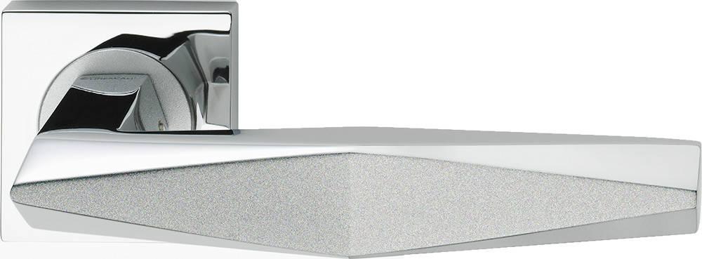 Ручка дверная Linea Cali Prisma на 019 розетке, хром/хром матовый, фото 2