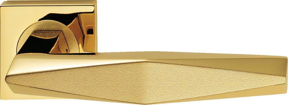 Ручка дверная Linea Cali Prisma на 019 розетке, золото/золото матовое, фото 2