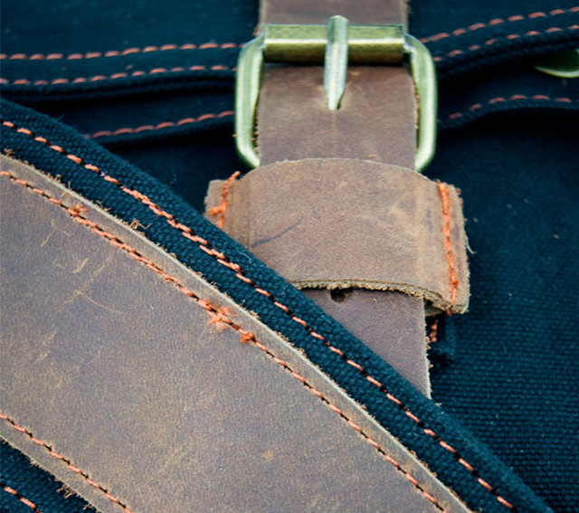 Мужская сумка Augur | черная. Кожаные лямки.