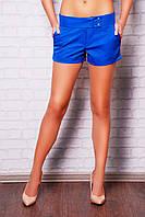 Короткие женские шорты с широким поясом из костюмной ткани