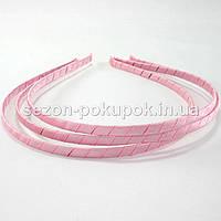 Обруч для волос обмотанный атласной лентой (ширина 5мм). Цвет - РОЗОВЫЙ