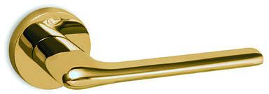 Ручка дверная CONVEX 1485 на круглой розетке, латунь палированная