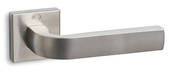 Ручка дверная CONVEX 1115 на круглой розетке, матовый никель