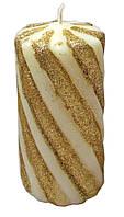 Свеча Спираль Золото, 11 см, диаметр - 5 см