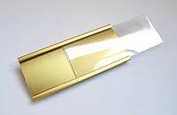 Бейдж алюминиевый под сменное имя Золотого цвета