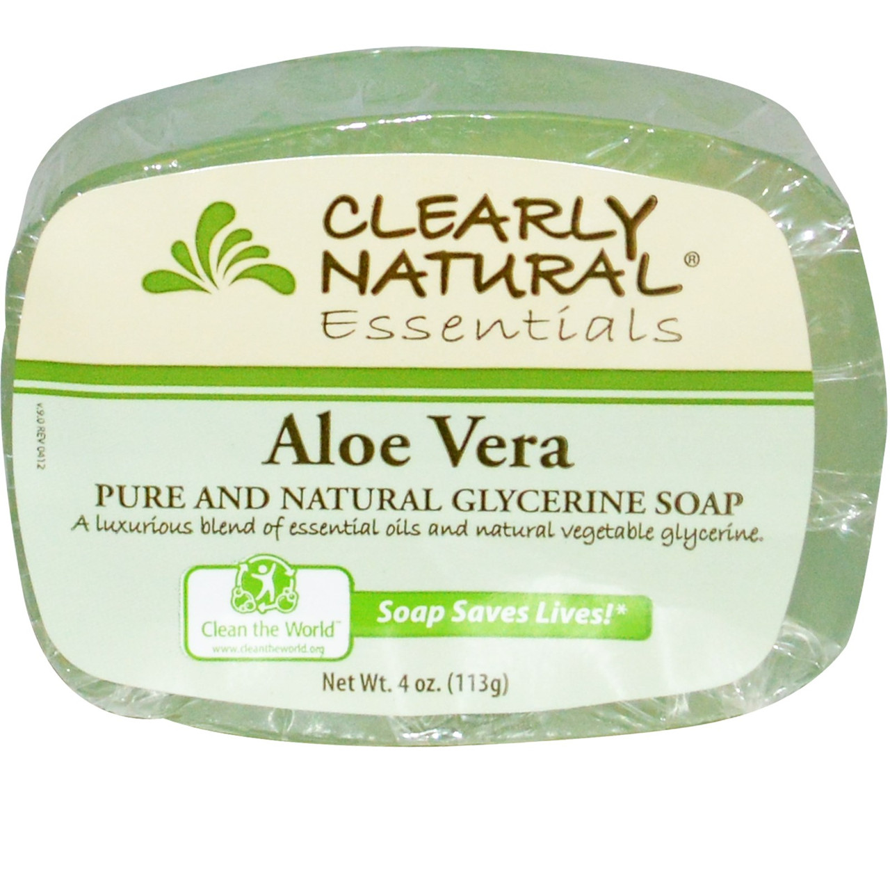 Натуральное глицериновое мыло, Алоэ Вера, Clearly Natural, Essentials, 4 унции (113 г)