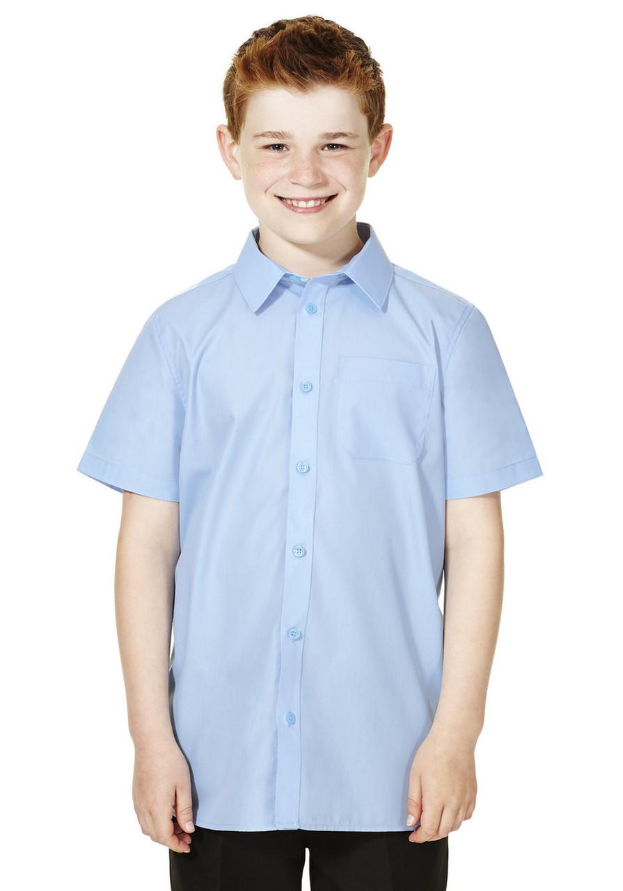 Школьная рубашка голубая с коротким рукавом на мальчика 9-10 лет Easy to Iron F&F (Tesco, Англия)