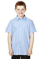 Школьная рубашка голубая с коротким рукавом на мальчика 9-10 лет Easy to Iron F&F (Tesco, Англия) , фото 1