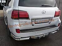 Защита заднего бампера уголки двойные D70-42 на Lexus LX-570