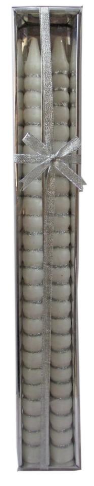 Свечи Сосулька Серебро, 50 см, диаметр - 3 см(СвСвад_СосСереб50-3)