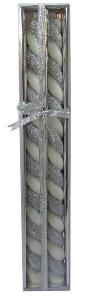Свечи Спираль короткие Серебро, 50 см, диаметр - 3  см(СвСвад_корСереб50-3)