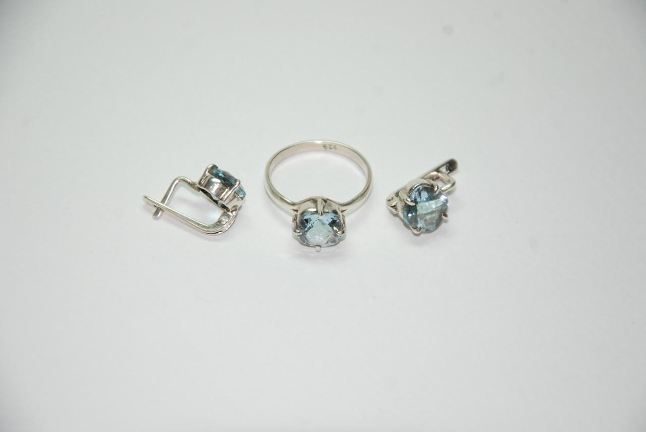"""Серьги и кольцо из камня  """"Топаз"""" (в серебре - 925 пробы)"""