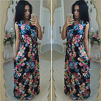 Женское красивое нарядное длинное платье с цветочками, фото 1