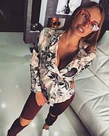 Женская красивая рубашка с цветочными узорами, фото 1