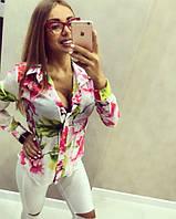 Женская красивая рубашка с цветочками, фото 1