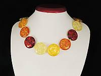 Бусы из янтарной смолы, разноцветные, монета