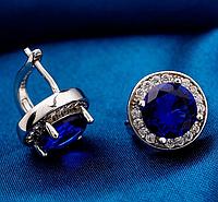 """Серьги Swarovski """"Синий сапфир в серебре"""", фото 1"""