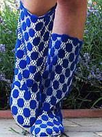 Синие летние женские полусапожки без застежки на плоской подошве