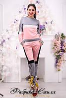 Женский модный костюм двойка кофта с длинными рукавами+брючки с карманами качественного кроя 375 ЕП
