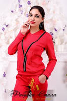 Женский модный костюм двойка кофта с длинными рукавами и спереди украшена застежкой молнией+брючки с карманами качественного кроя 377 ЕП