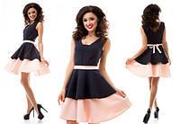 Платье выше колена на поясе с расклешонной юбкой качественного кроя 7137 ЕМ, фото 1