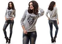 Женская модная кофта с длинным рукавом и вышевкой спереди рукава и низ на манжете 5001 03 ЕМ