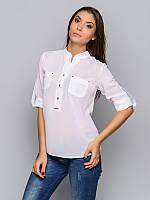 Женская стильная офисная белая блуза р.46