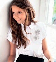 Блузка школьная для девочки Sly 110C/S/16 белого цвета