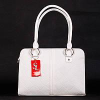 Большая белая сумка женская деловая матовая