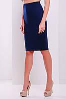 Летняя классическая юбка темно синего цвета из французского трикотажа