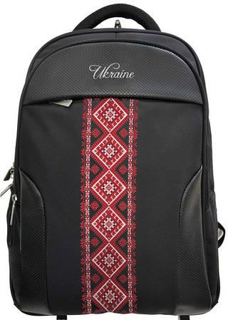 """Дизайнерский городской рюкзак с вышивкой на фасаде OPTIMA 18"""" """"Vyshyvanka Red"""" O97361 черный"""