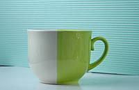 Чашка керамическая аппетитка День и ночь, бело-зеленая
