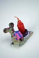 Сувенирная статуэтка со свечей Мышка серая