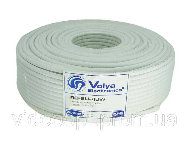 Коаксиальный кабель Volia Electronics RG6U 48W CCS 1.02 мм 75 Ом 10 м - Видео ОПТ в Кривом Роге
