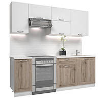 Кухонный гарнитур МДФ 2,2 метра из 7 модулей молочный дуб (кухонный комплект мебели)