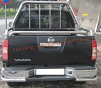 Защита заднего бампера уголки одинарные D60 на Nissan Navara 2005-2009