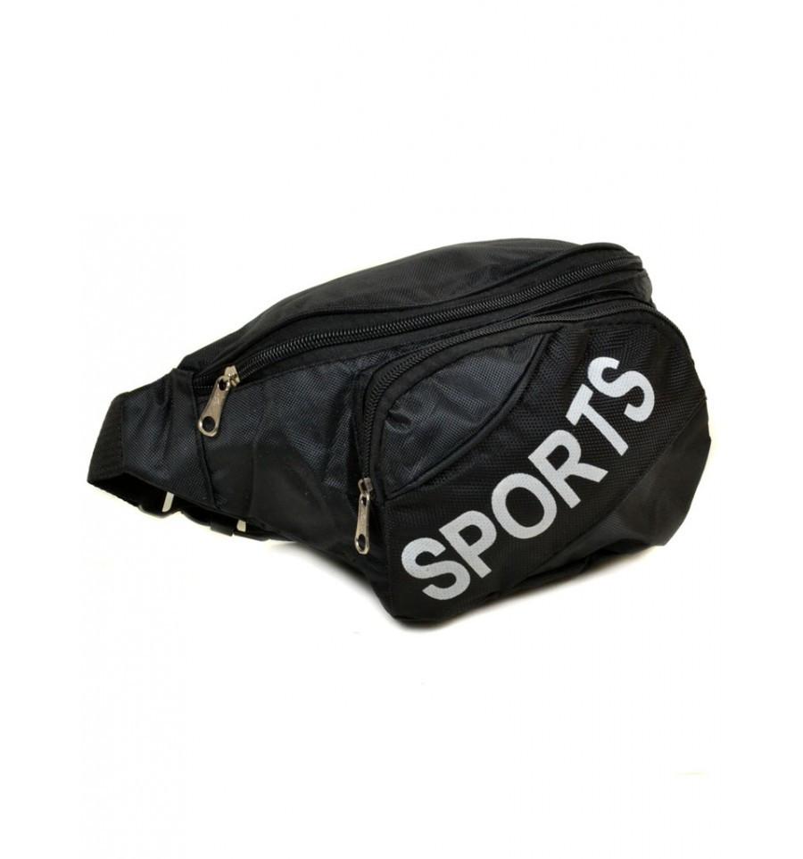 Чоловіча сумка на пояс з текстилю, 9475 black, чорний