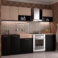 Кухонный гарнитур МДФ 2 метра из 6 модулей венге (кухонный комплект мебели)